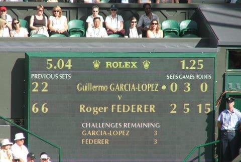Placar de jogo de tênis de Roger Federer em Wimbledon