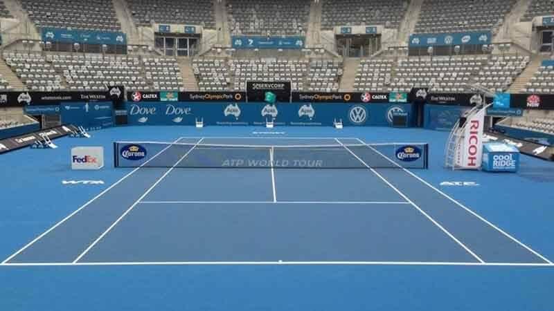 Quadra de tênis e rede de tênis