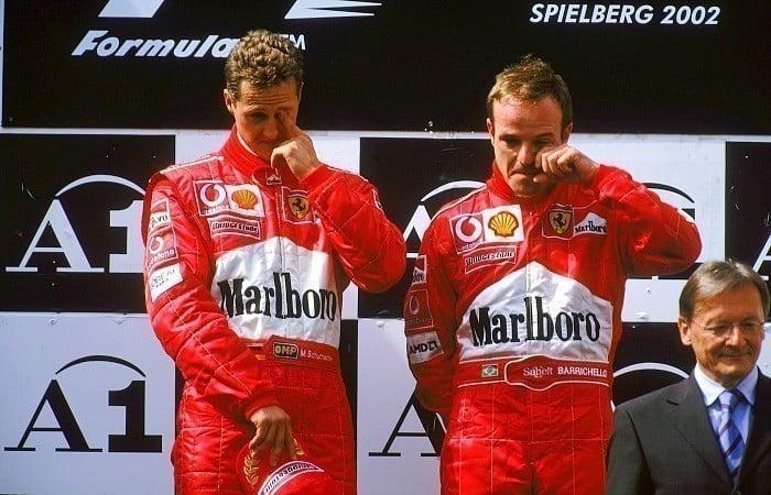 Rubens Barrichello e Michael Schumacher no GP da Áustria em 2002