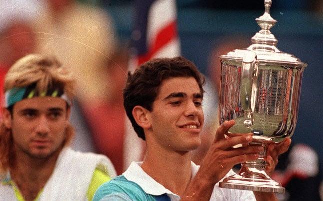 Pete Sampras e Andre Agassi na final do US Open de 1990