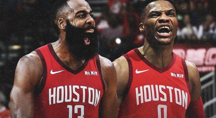 James Harden e Russell westbrook no Houston Rockets