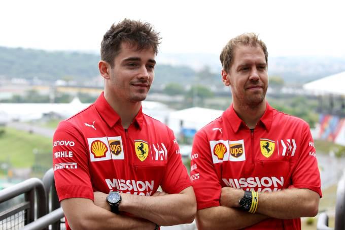 Charles Leclerc e Sebastian Vettel na Ferrari