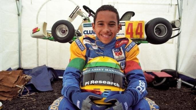 Lewis Hamilton no kart