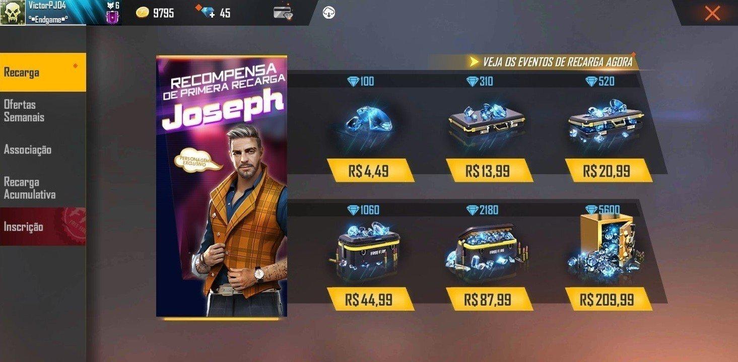 preços diamantes free fire android