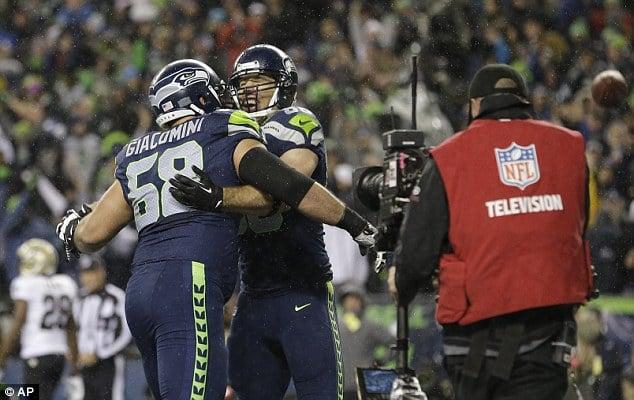 Breno Seahawks comemorando um touchdown do Seattle Seahawks