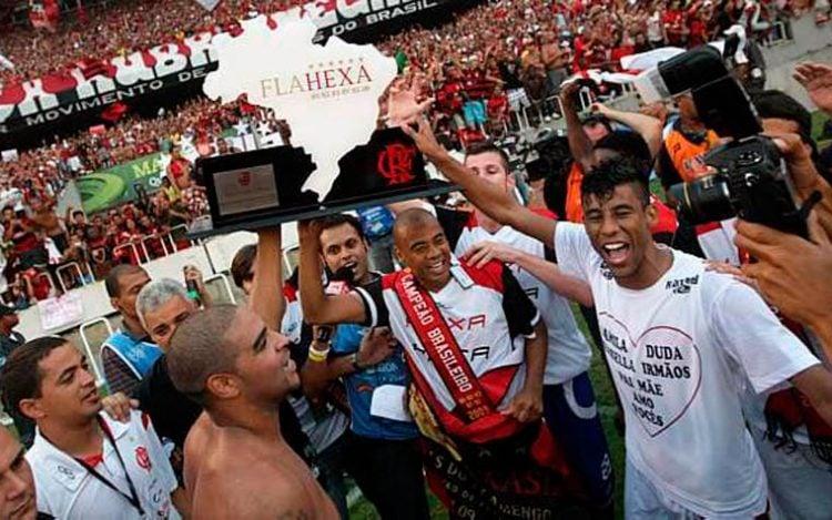 Comemoração dos jogadores do Flamengo em 2009