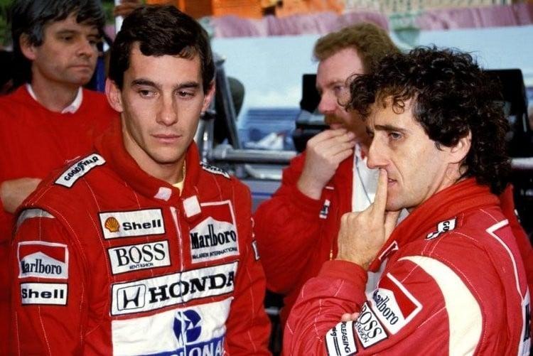 Fotode Ayrton Senna e Prost quando eram companheiros de equipe