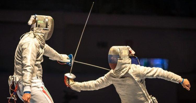 Partida de esgrima durante as Olimpíadas