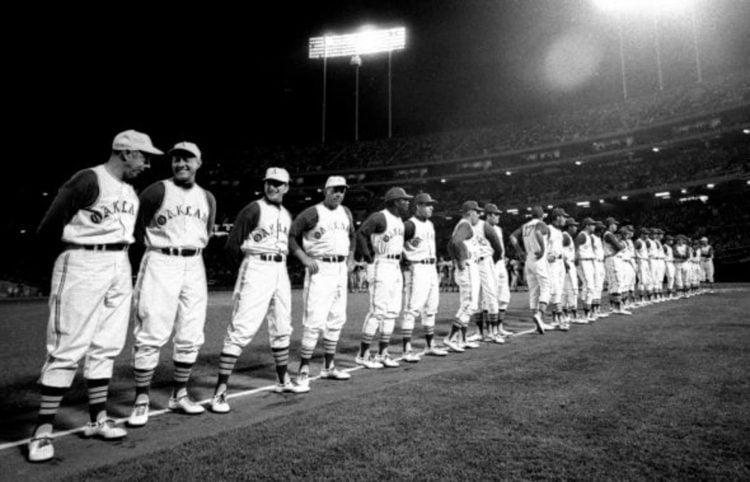 Foto da noite de estreiado Oakland Athletics na nova sede